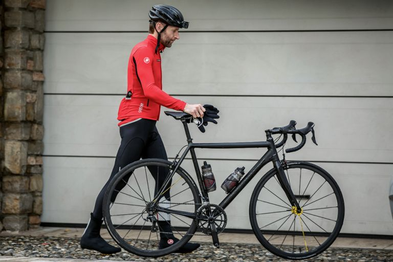 cyclist in rain jacket
