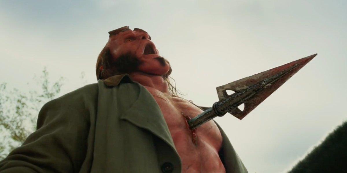 David Harbour takes a painful spear through the chest in 2019's Hellboy