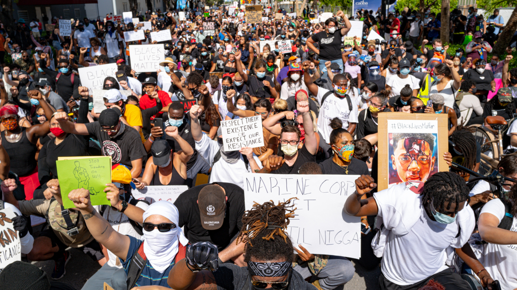 protesters marching for Black Lives Matter