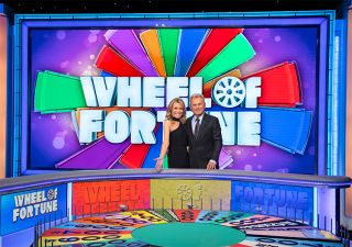 Vanna White and Pat Sajak in 'Wheel of Fortune'