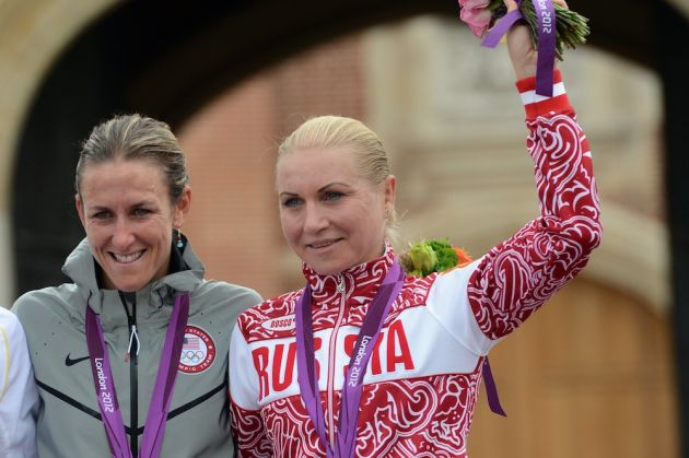 Russian rider Olga Zabelinskaya taking bronze at the 2012 Olympics
