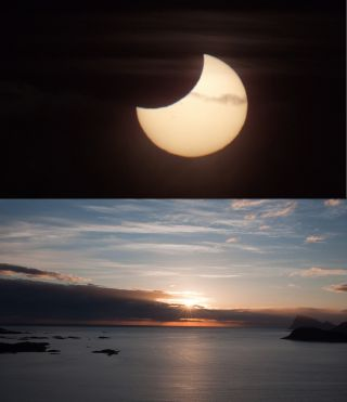 "Photographer and skywatcher Bernt Olsen snapped this view of the partial solar eclipse of June 1-2, 2011 just during the ""midnight sun"" in Tromso, Norway. The partial solar eclipse was dubbed a ""midnight"" eclipse as its viewing path crossed the Internatio"