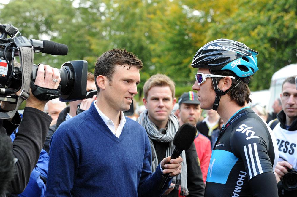 Yanto Barker interviews Geraint Thomas, Tour of Britain 2011, stage four