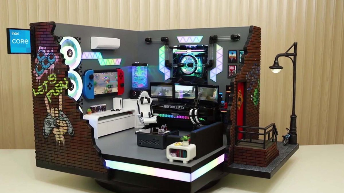 There's a gaming PC hidden inside this incredible gaming den diorama