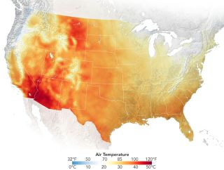 This image created with satellite data shows extreme heat in the Southwest on June 15, 2021. The region has been facing heat waves and drought going into the summer.