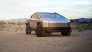 The Tesla Cybertruck parked in the desert