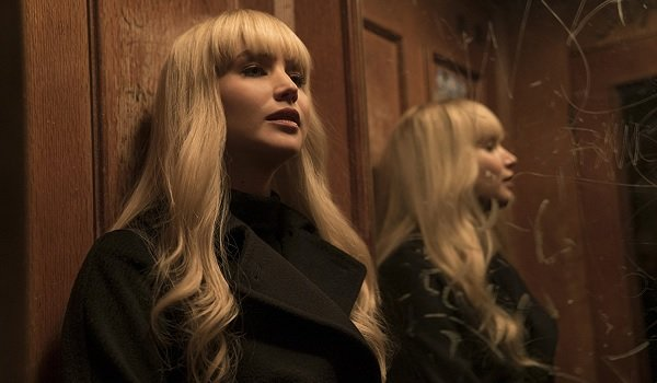 Red Sparrow Jennifer Lawrence Dominika reflected in a mirror