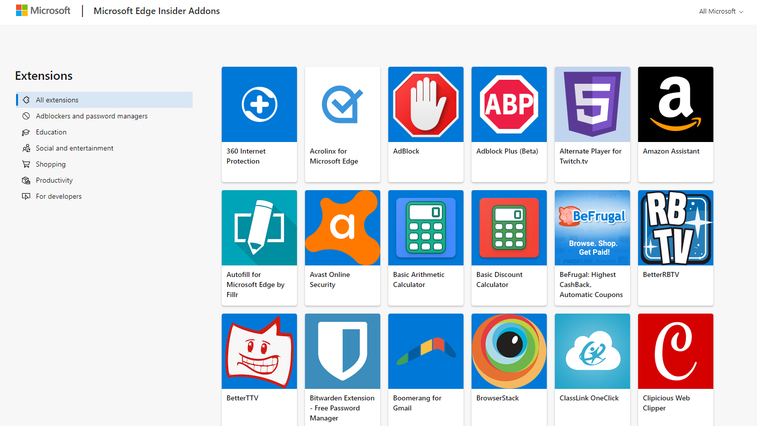 Microsoft opens a plugin store for the new Chromium-based