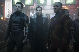 Sebastian Stan, Daniel Brühl, and Anthony Mackie in The Falcon and the Winter Soldier.