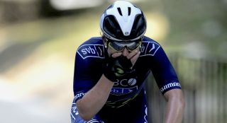 Emma Langley of Team TIBCO-Silicon Valley Bank reacts to winning stage 2 of Joe Martin Stage Race