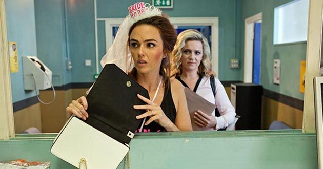 Mercedes McQueen is shocked to see the drugs in her bag in Hollyoaks.