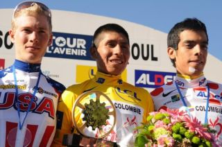 The final Avenir podium (l-r): Andrew Talansky, Alexander Quintana and Jarlinson Pantano Gomez.