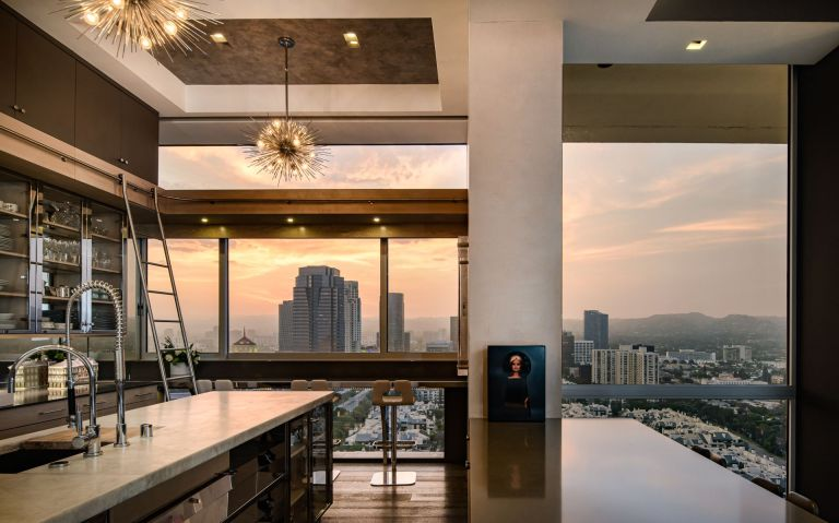 open plan kitchen with views over LA