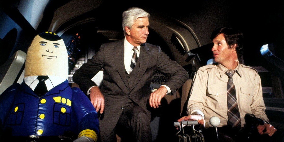 Leslie Nielsen and Robert Hays in Airplane!