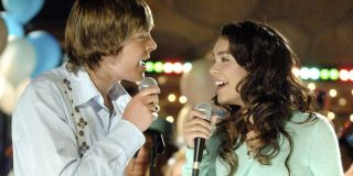 Troy and Gabriella singing on New Years Eve in _High School Musical._