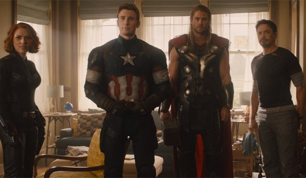 Black Widow, Captain America, Thor and Tony Stark in Hawkeye's home in Avengers: Age of Ultron