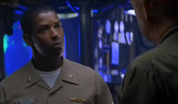 Denzel Washington as a Naval officer in Crimson Tide