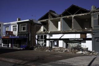 A storefront on Victoria Street collapsed after a 7.1-magnitude earthquake struck Christchurch, New Zealand in September 2010.