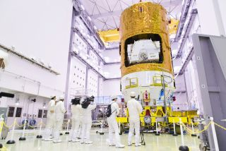 The Japan Aerospace Exploration Agency's Kounotori7 cargo ship undergoes preflight work ahead of a scheduled September 2018 launch from Tanegashima Space Center in southern Japan. After some delays, the spacecraft will launch on an H-IIB rocket at 2:15 p.