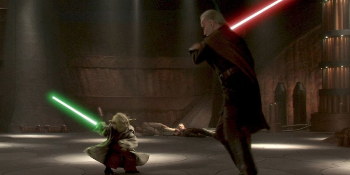 Yoda and Count Dooku in a lightsaber duel