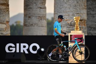 PALERMO ITALY OCTOBER 01 Jakob Fuglsang of Denmark and Astana Pro Team Trofeo Senza Fine Trophy during the 103rd Giro dItalia 2020 Team Presentation in Archaeological Park of Segesta in Palermo City Temple of Segesta girodiitalia Giro on October 01 2020 in Palermo Italy Photo by Stuart FranklinGetty Images