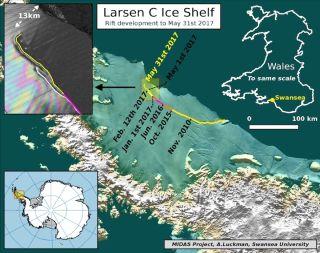 larsen c iceberg, breaking off