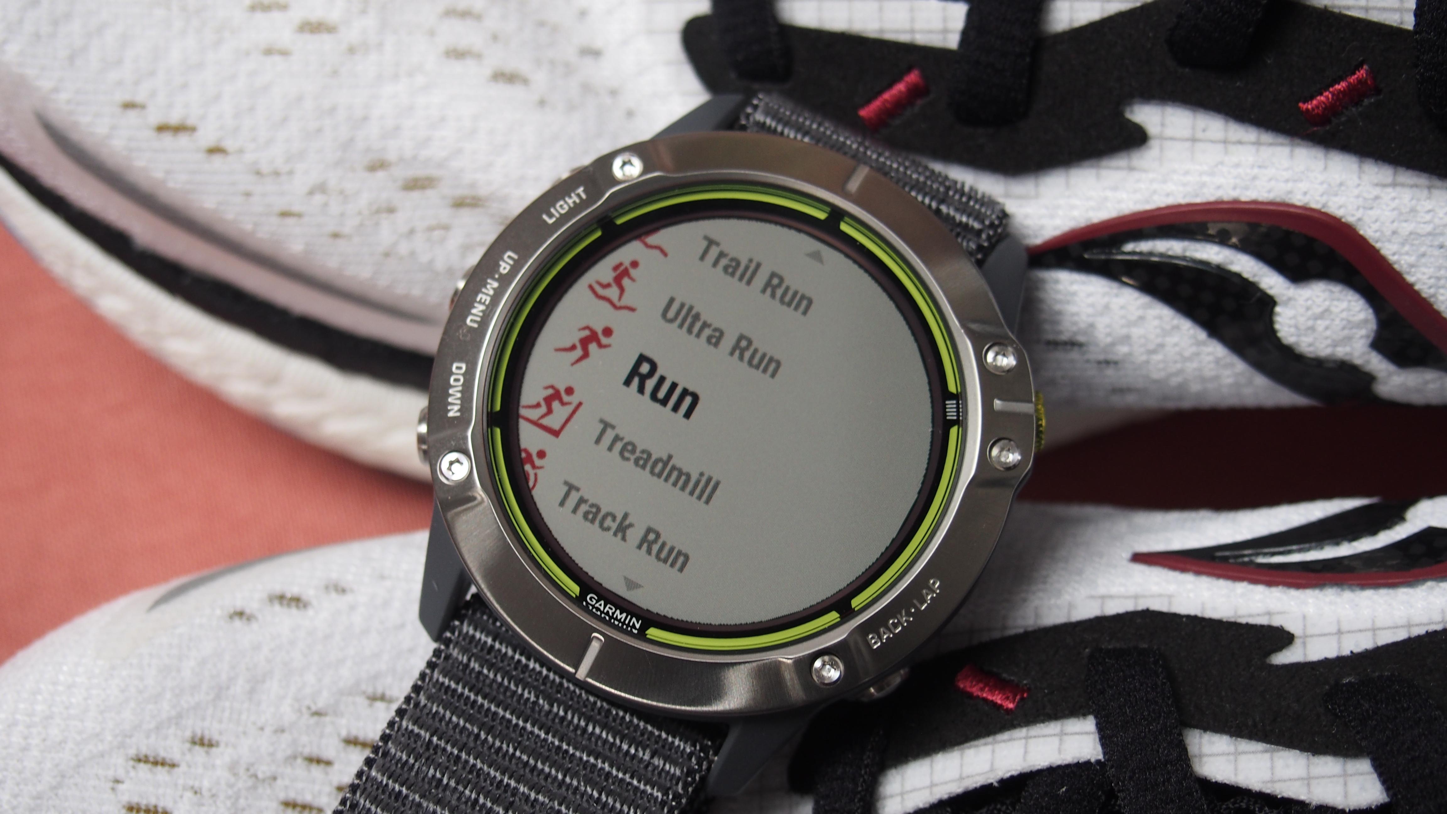 Garmin Enduro showing menu of activity tracking options