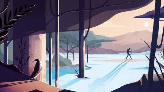 Warm digital illustration of a hiker in a beautiful mountain landscape