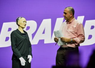 The world's first robot citizen, Sophia speaks at the Brain Bar festival in Budapest, Hungary.