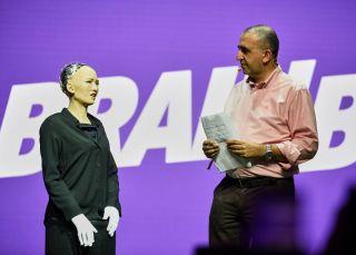 The world's first robot citizen, Sophia speaks at the Brain Bar festival in Budapest, Hungary.