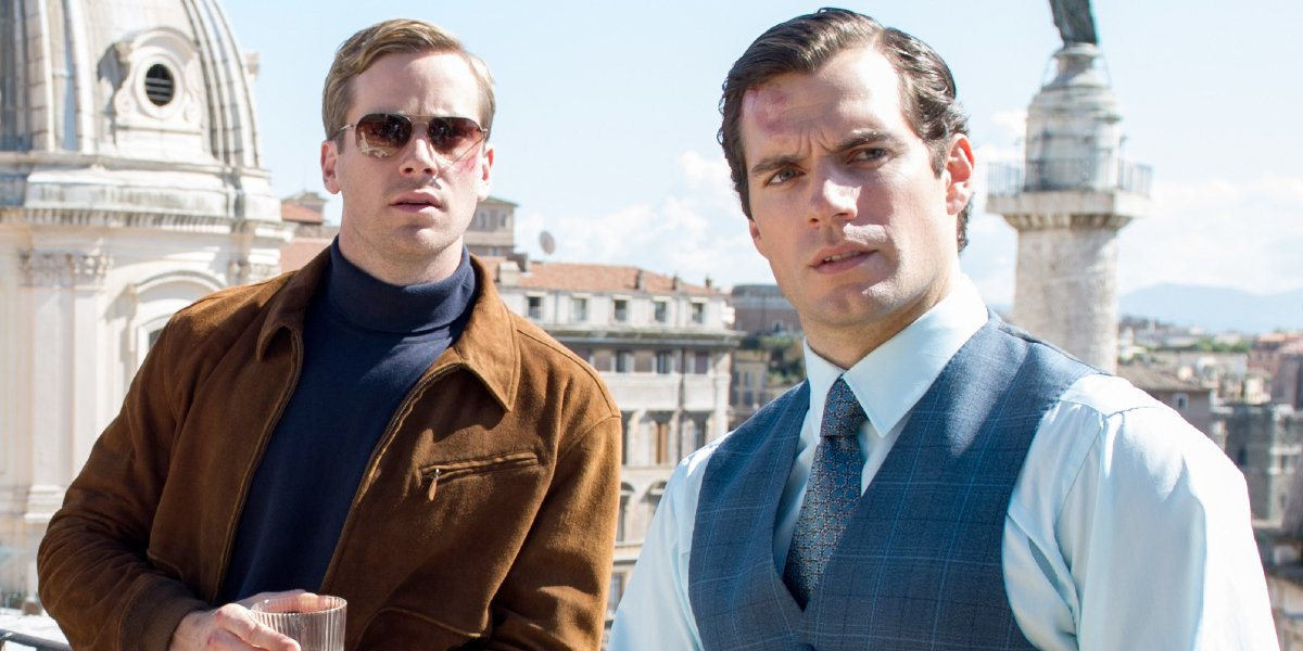 The Man From U.N.C.L.E. Armie Hammer and Henry Cavill having a drink on the roof