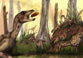An artist's impression of the dinosaur <em>Laquintasaura venezuelae</em>, which lived some 200 million years ago in what is now Venezuela.