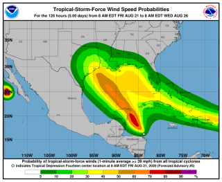 A map shows where at least tropical storm-force winds are expected in the coming days as the two storm systems approach one another in the Gulf of Mexico. Tropical Storm Laura's winds are seen approaching from the east.