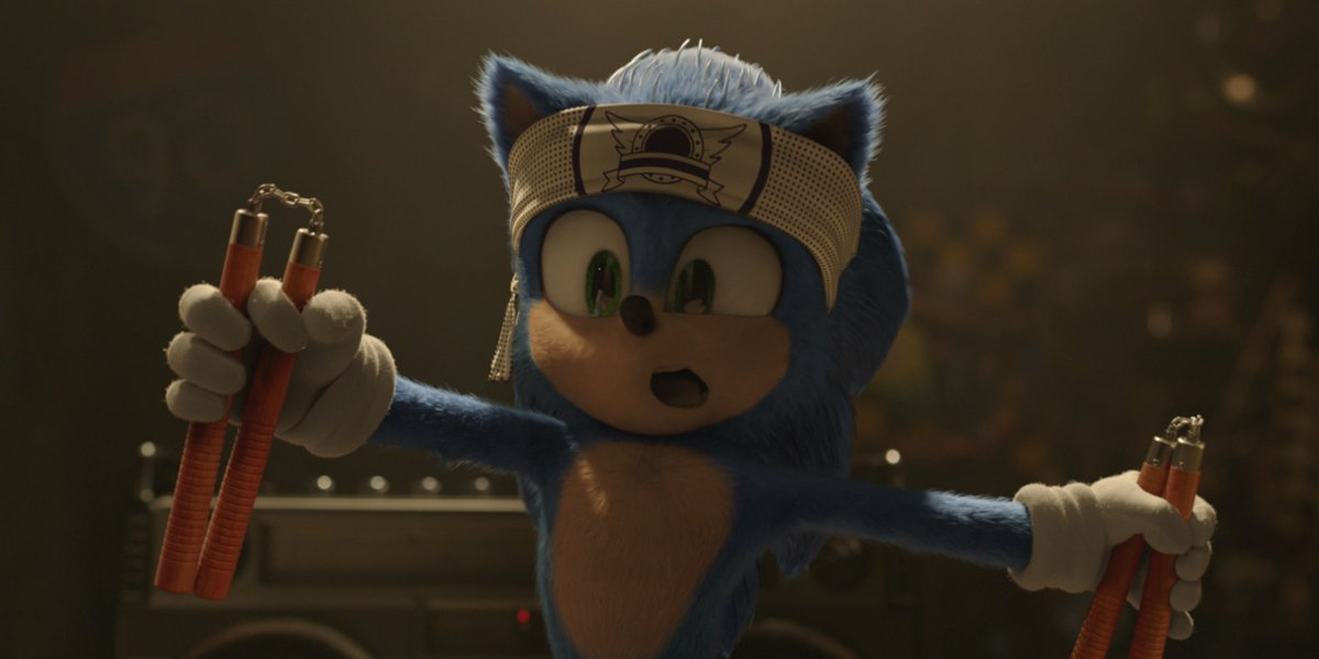 Sonic The Hedgehog holding nunchucks