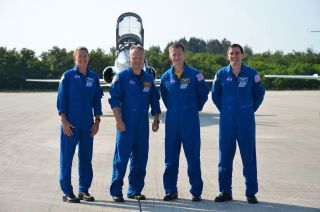 The 'final four' space shuttle astronauts arrived at Kennedy Space Center in Florida on June 20, 2011 to practice for their July 8 launch. From left to right: STS-135 mission specialist Sandra Magnus, pilot Doug Hurley, commander Chris Ferguson and missio