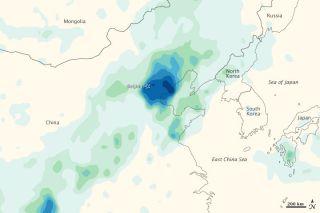 Rainfall around Beijing from Typhoon Vincente