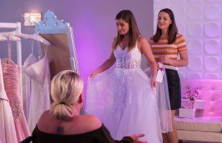 Maxine Minniver tries on wedding dresses
