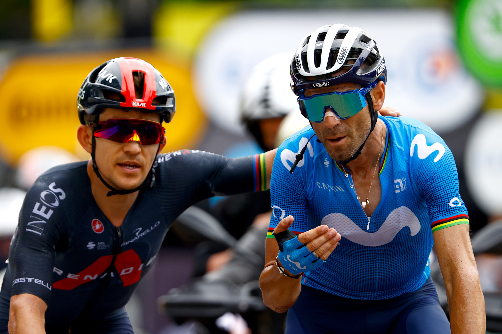 Tour de France 2021 108th Edition 7th stage Vierzon Le Creusot 2491 km 02072021 Michal Kwiatkowski POL Ineos Grenadiers Alejandro Valverde ESP Movistar Team photo Luca BettiniBettiniPhoto2021