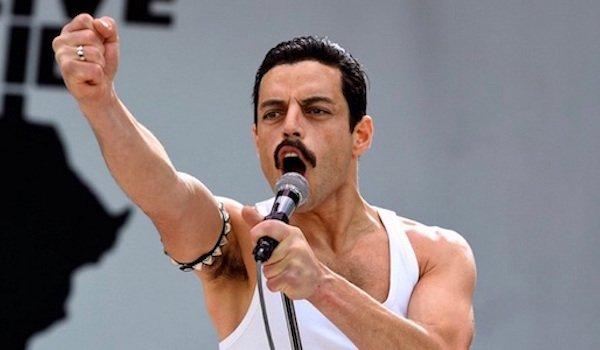 Rami Malek as Freddie Mercury in Live Aid in Bohemian Rhapsody