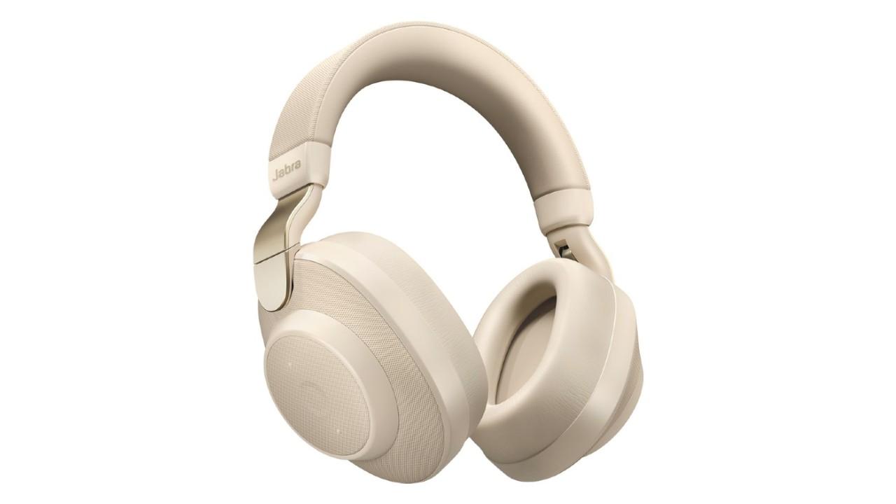the Jabra Elite 85H noise canceling headphones in cream