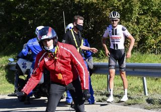 Sunweb's Tiesj Benoot was lucky to be able to come away with only cuts and bruises after crashing at 60kph on a descent during stage 4 of the 2020 Tour de France
