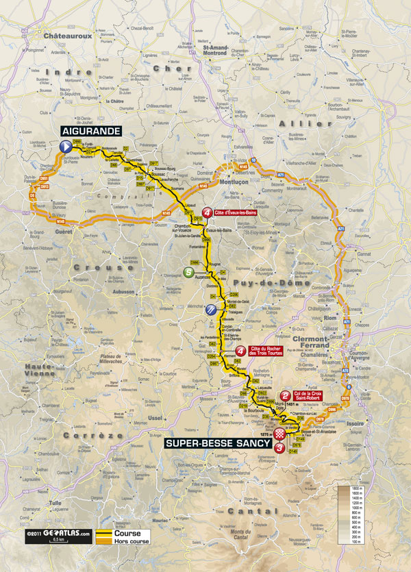 Stage 8 map, Tour de France 2011