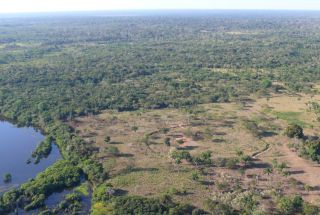 Shown here, a ring ditch next to Laguna Granja in the Amazon of northeastern Bolivia.
