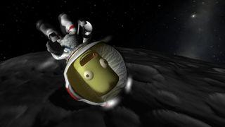 A Kerbal floating in space.