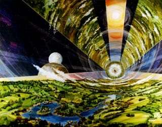 Artist Rick Guidice's 1970s illustration of a cylindrical space colony ship.