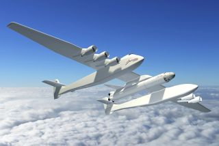 An artist's impression of the Stratolaunch Systems carrier aircraft.