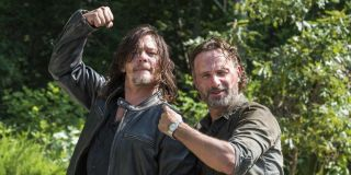 norman reedus and andrew lincoln behind the scenes of the walking dead season 8