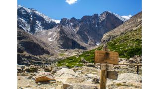 Longs Peak in Rocky Mountain National Park Colorado on a summer day