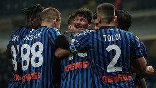 Atalanta celebrates after a goal against SSC Napoli on Feb 21, 2021.