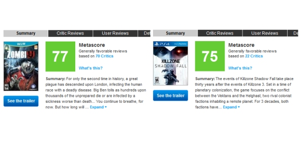 PS4 Launch Titles Murdered By Wii U Launch Titles On Metacritic